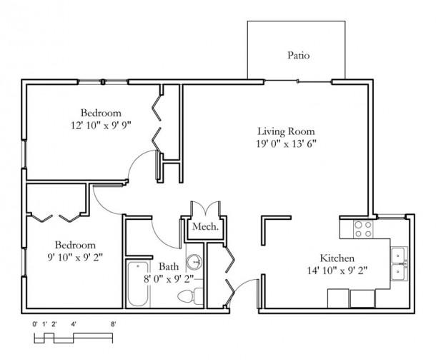 2 Bedroom Apartments Cheap Rent: 2 Bedroom, 1 Bath (875sqft
