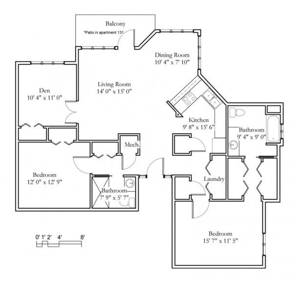 2 Bedroom, Den, 2 Bath (1319sqft