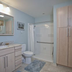 Bathroom with accessible walk-in shower