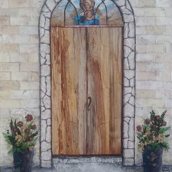 """""""Door of Hope"""" by Ginny Young / Collage on stretch canvas; unframed 24 x 36 / """"I am the door; if anyone enters through Me, he will be saved..."""" John 10:9"""