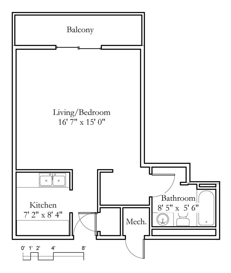 1 bedroom studio floor plans for Studio vs 1 bedroom difference