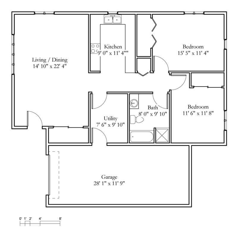 Cottage sample floor plans meadowlark continuing care for 1 bedroom cabin floor plans