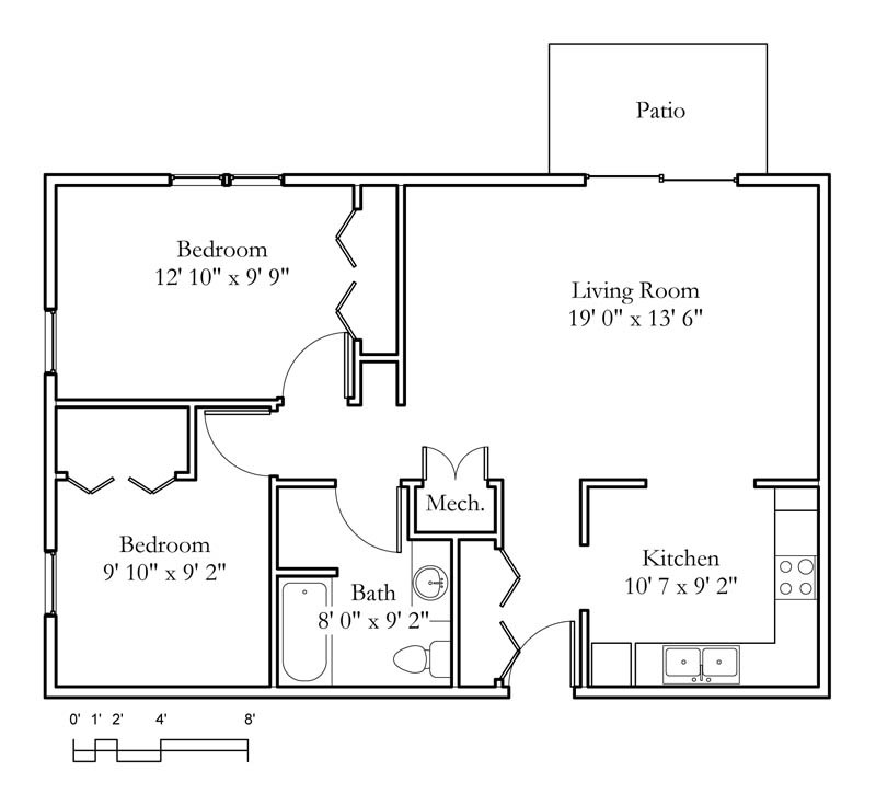 2 Bed 1 Bath Apartment In Birmingham Al: Sample Floor Plans