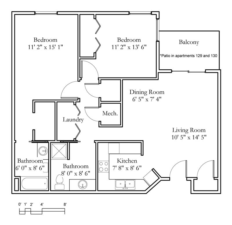 Apartment Sample Floor Plans  Meadowlark  Continuing Care