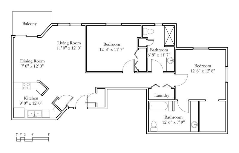Apartment sample floor plans meadowlark continuing Sample 2 bedroom house plans