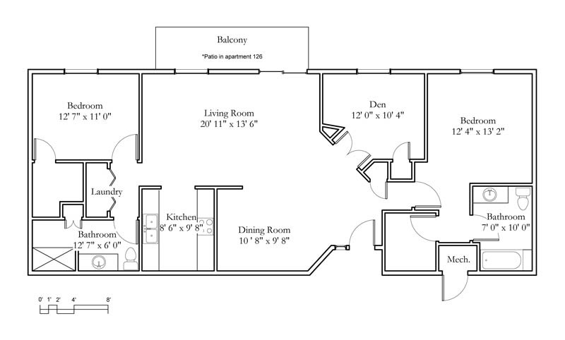 Floor Plans For Physical Therapy Clinic: 2 Bedroom, Den, 2 Bath (1302sqft