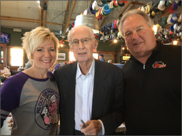[left ot right] Michelle Haub, Coach Bill Snyder & Bud Cox at 2017 Pig Out for Parkinson's event.